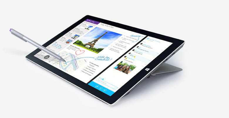 Microsoft Surface Pro 3 Core i7 4650U, RAM 8GB, SSD 256GB, 12″ Full HD, Window 10 Professional